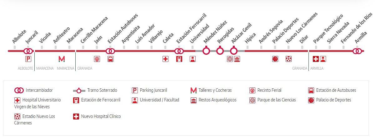 Plano Metro de Granada - Estación Ferrocarril